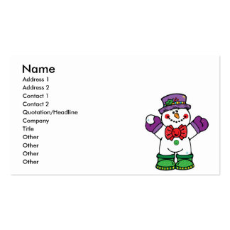 silly happy snowman business cards