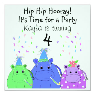 Silly Hippo Party Invitation