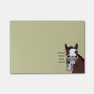 "Silly Horse Cartoon ""Wanna horse around"" Post-it Notes"