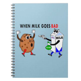 silly image milk carton and cookie notebook