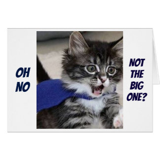 """SILLY KITTY SAYS """"OH NO, NOT THE BIG ONE"""" BIRTHDAY CARD"""