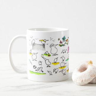 Silly Kiwi Birds mug by Nicole Janes