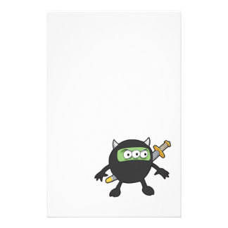 silly little ninja monster stationery design