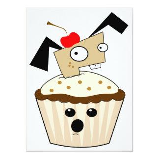 silly little puppy dog in cupcake kawaii cartoon 17 cm x 22 cm invitation card