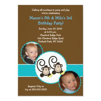 """Silly Monkey Trendy Photo Birthday Invitation 5x7 5"""" X 7"""" Invitation Card"""