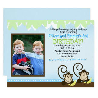 Silly Monkey Twins Photo Birthday Invite