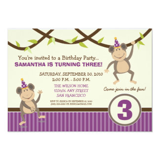 Silly Monkeys Birthday Party Invitation (lavender)