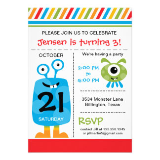 Silly Monster Birthday Party Invitation Invitation