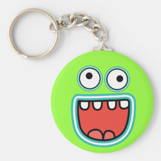 Silly Monster Grin Smiley Face Basic Round Button Key Ring