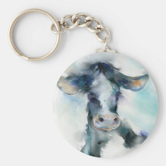 Silly Moo Basic Round Button Key Ring