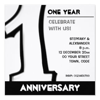 Silly Number 1 white Anniversary Invite