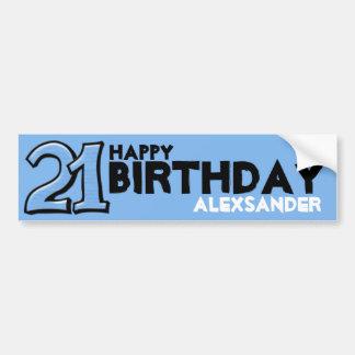 Silly Number 21 blue Birthday Bumper Sticker Car Bumper Sticker