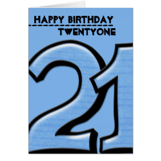 Silly Number 21 blue Birthday Card