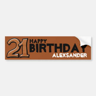 Silly Number 21 chocolate Birthday Long Sticker Car Bumper Sticker