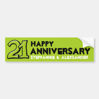 Silly Number 21 green Anniversary Bumper Sticker