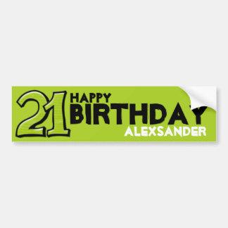 Silly Number 21 green Birthday Long Sticker Bumper Sticker