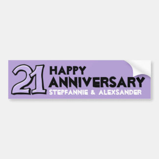Silly Number 21 lavender Anniversary Long Sticker Car Bumper Sticker