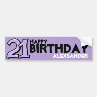 Silly Number 21 lavender Birthday Long Sticker Car Bumper Sticker