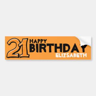 Silly Number 21 orange Birthday Long Sticker Car Bumper Sticker