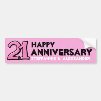 Silly Number 21 pink Anniversary Long Sticker Bumper Sticker