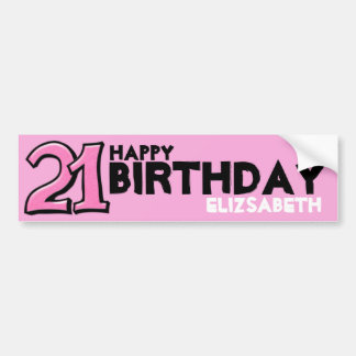 Silly Number 21 pink Birthday Long Sticker Bumper Sticker