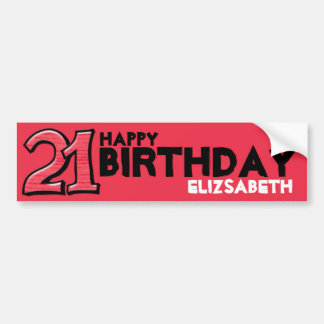 Silly Number 21 red Birthday Long Sticker Car Bumper Sticker
