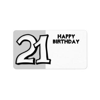 Silly Number 21 white Birthday Gift Sticker Address Label