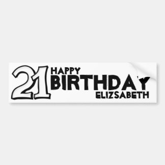 Silly Number 21 white Birthday Long Sticker Car Bumper Sticker