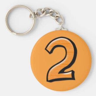 Silly Number 2 orange Keychain