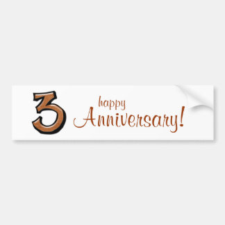 Silly Number 3 chocolate Anniversary Bumper Sticker