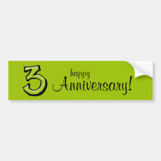 Silly Number 3 green Anniversary Bumper Sticker