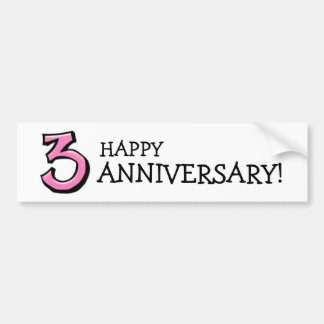 Silly Number 3 pink Anniversary Bumper Sticker
