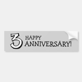 Silly Number 3 white Anniversary Bumper Sticker
