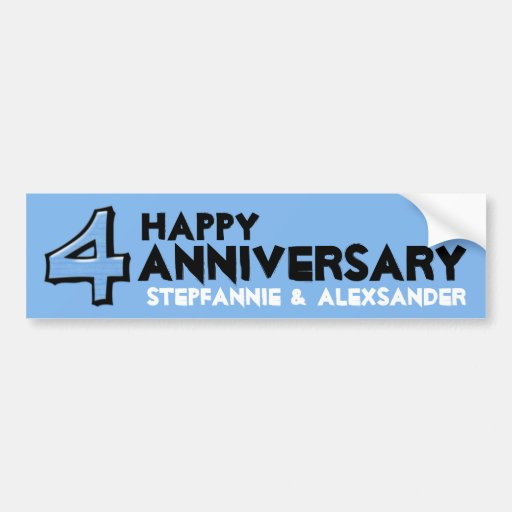 Silly Number 4 blue Anniversary Bumper Sticker