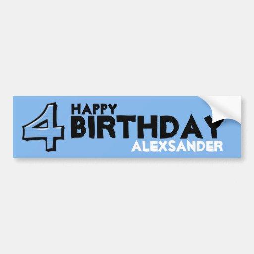 Silly Number 4 blue Birthday Bumper Sticker