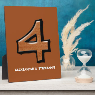 Silly Number 4 chocolate Anniversary or Birthday Plaque