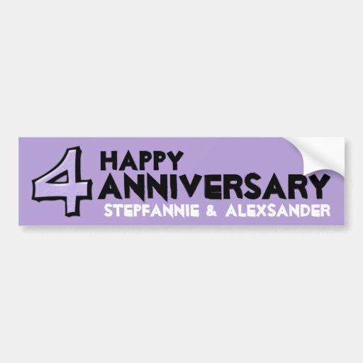 Silly Number 4 lavender Anniversary Sticker Bumper Sticker