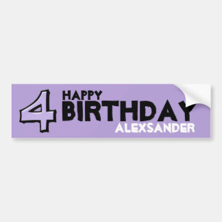 Silly Number 4 lavender Birthday Bumper Sticker
