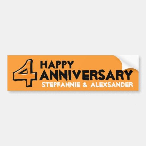 Silly Number 4 orange Anniversary Sticker Bumper Sticker