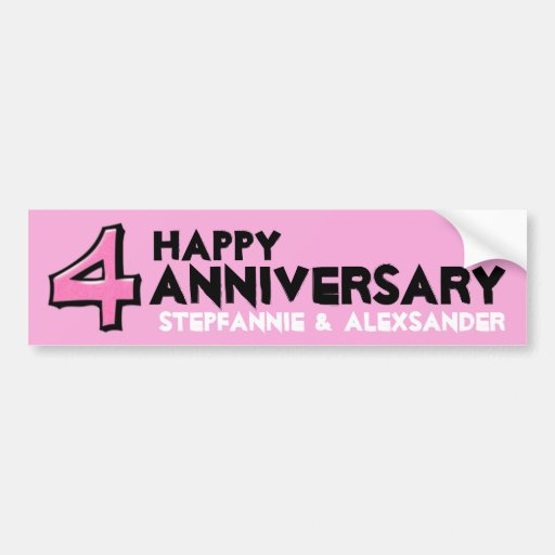 Silly Number 4 pink Anniversary Sticker Bumper Stickers