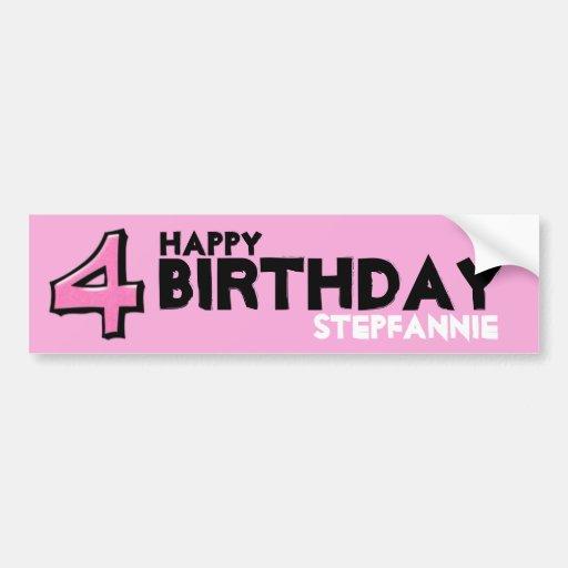 Silly Number 4 pink Birthday Bumper Sticker