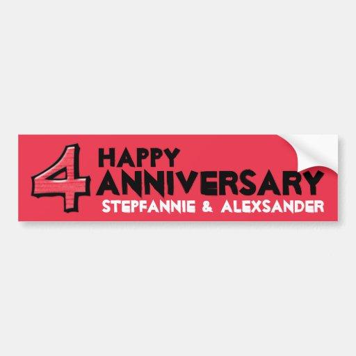 Silly Number 4 red Anniversary Sticker Bumper Sticker