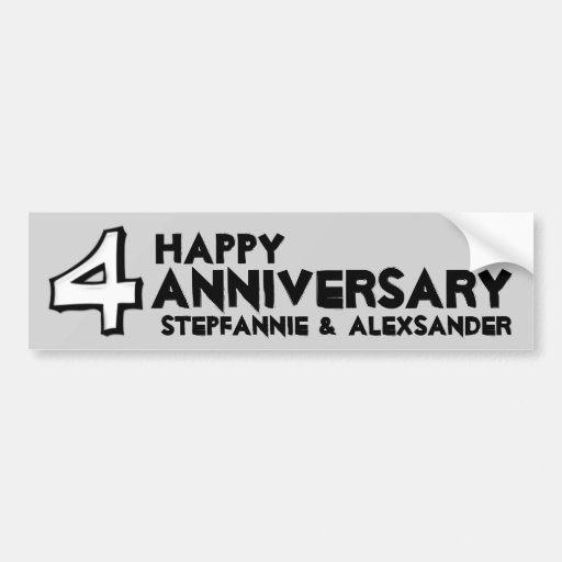Silly Number 4 white Anniversary Sticker Bumper Stickers