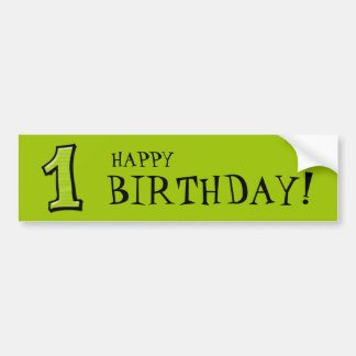 Silly Numbers 1 green Birthday Bumper Sticker