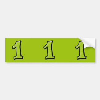 Silly Numbers 1 green cutout Stickers Bumper Sticker