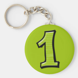 Silly Numbers 1 green Keychain