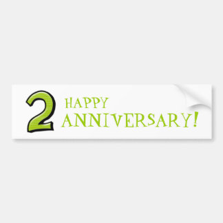 Silly Numbers 2 green Anniversary Stickers Bumper Sticker