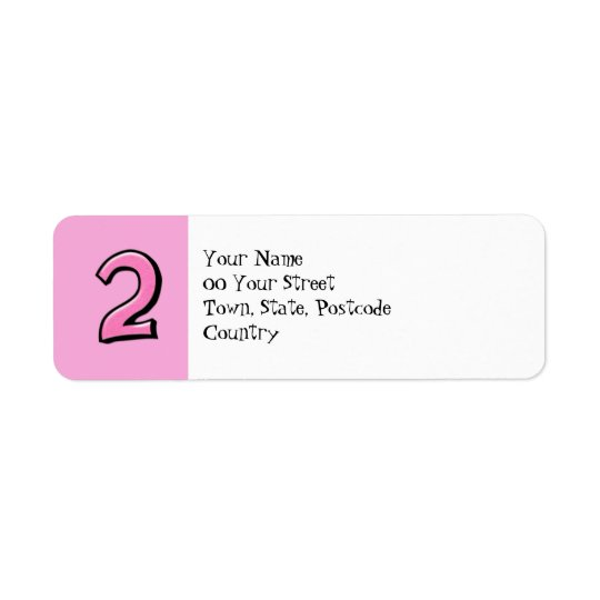 Silly Numbers 2 pink Return Address Label