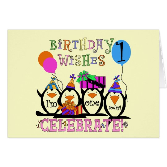 Silly Penguins 1st Birthday Tshirts and Gifts Card