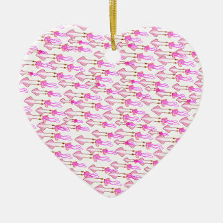 Silly Pink Squid Ceramic Heart Decoration